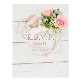 Romantic vintage spring flower wedding RSVP Postcard