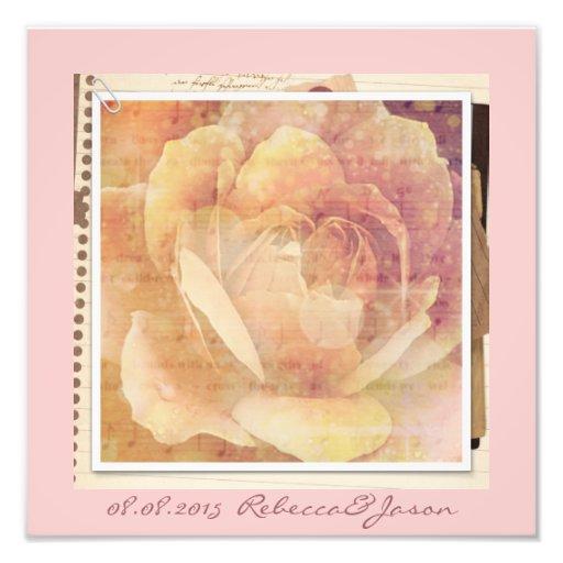 romantic vintage spring pink rose floral wedding photographic print