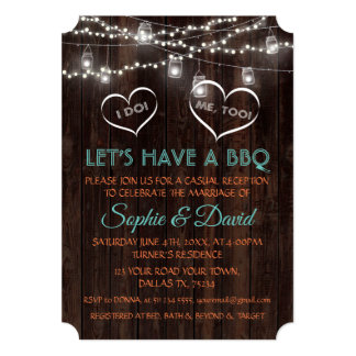 Romantic Vintage String Lights Old Barn I DO BBQ Card