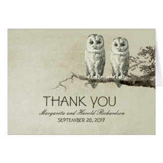 Romantic vintage two OWLS wedding thank you cards