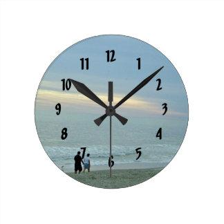 Romantic Walk Along The Beach Round Clock