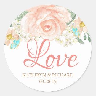 Romantic Watercolor Blush Peach Floral Love Script Classic Round Sticker