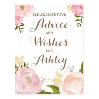 Romantic Watercolor Flowers Advie for the Bride Postcard