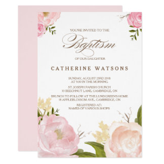Romantic Watercolor Flowers Baptism Invitation