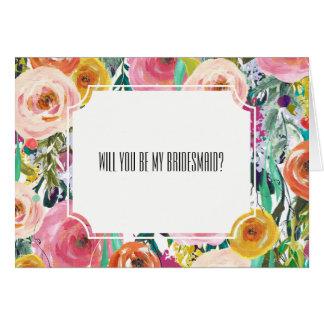 Romantic Watercolor Flowers Bridesmaid Card