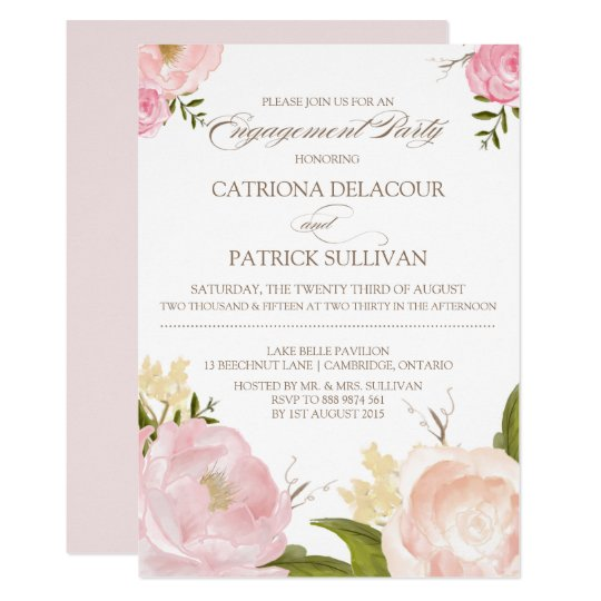 Romantic Watercolor Flowers Engagement Invitation