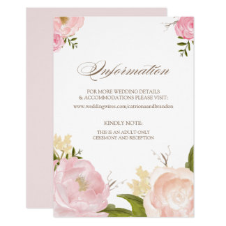 Romantic Watercolor Flowers Information Card