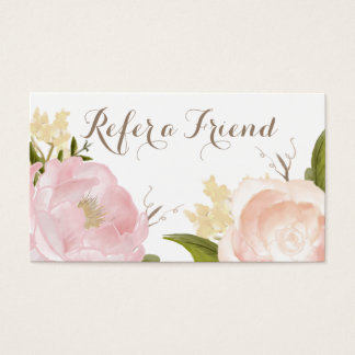 Romantic Watercolor Flowers Refer a Friend Card