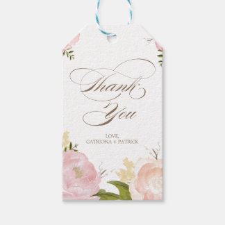 Romantic Watercolor Flowers Thank You Gift Tag Pack Of Gift Tags