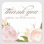 Romantic Watercolor Flowers Thank You Sticker Square Sticker