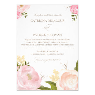 Romantic Watercolor Flowers Wedding Invitation