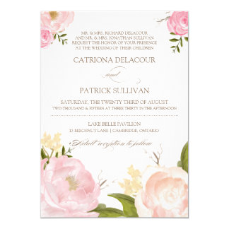 Romantic Watercolor Flowers Wedding Invitation V