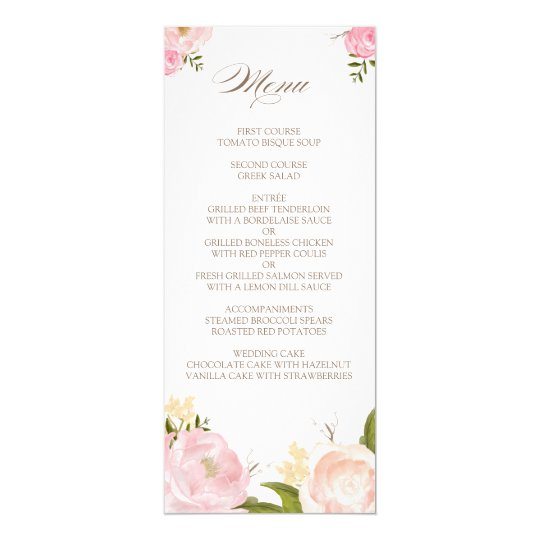 Romantic Watercolor Flowers Wedding Menu Card  ZazzleCa