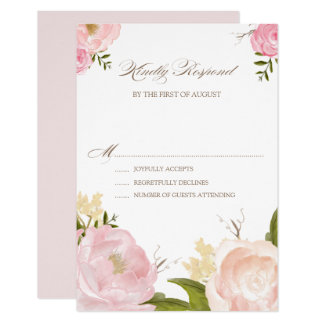 Romantic Watercolor Flowers Wedding RSVP Card
