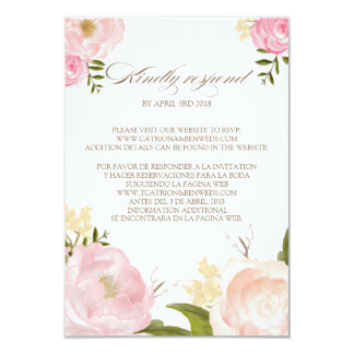 Romantic Watercolor Flowers Wedding RSVP Card II