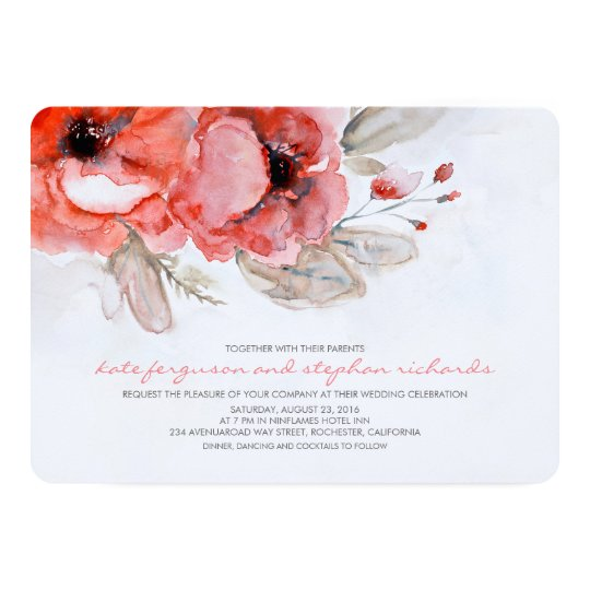 Romantic Watercolor Flowers Whimsical Wedding Card