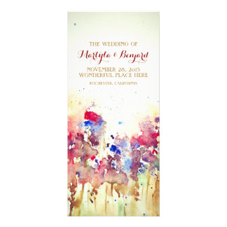 romantic watercolor wedding programs- fall flowers rack card