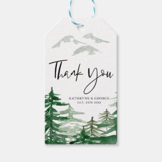 Romantic Watercolor Woodland Thank You Gift Tag