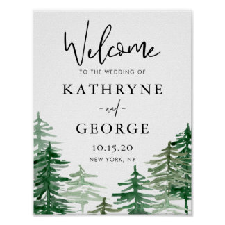 Romantic Watercolor Woodland Wedding Welcome Sign