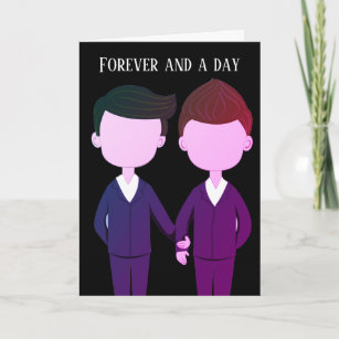 Romantic Wedding Anniversary Gay Men Couple Card