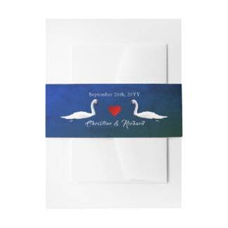 Romantic Wedding Blue Water Swans Invitation Belly Band