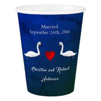 Romantic Wedding Blue Water Swans Paper Cup
