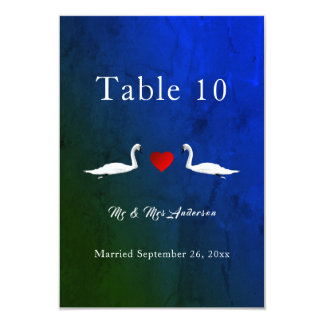 Romantic Wedding Blue Water Swans Table Cards