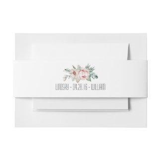 Romantic Wedding Flowers Invitation Belly Band