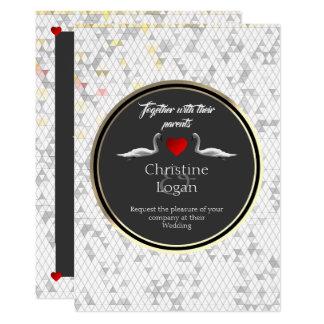 Romantic Wedding Invitation Swan Design