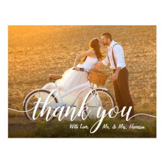 Romantic Wedding Photo Thank You Postcard