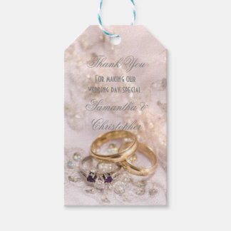 Romantic wedding rings favour thank you tag pack of gift tags