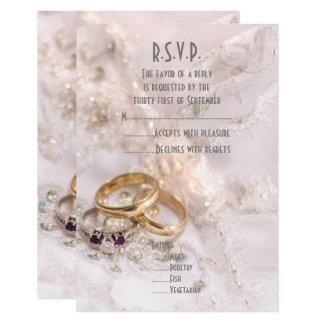 Romantic wedding rings R.S.V.P Card