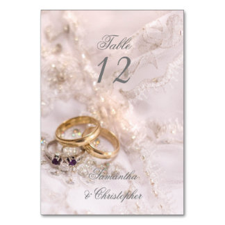 Romantic wedding rings table number table cards
