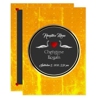 Romantic Wedding Swan Reception Menu Card