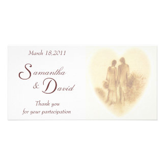 Romantic Wedding Thank You Photo Card Template