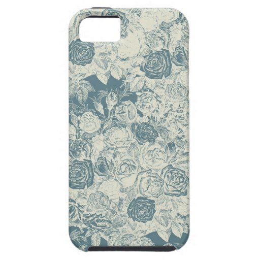 Romantic White and Blue Roses iPhone 5 Cases