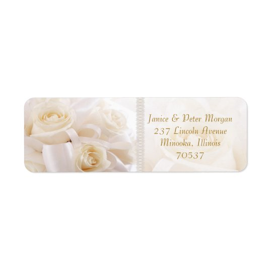 Romantic white cream roses Return Address Label