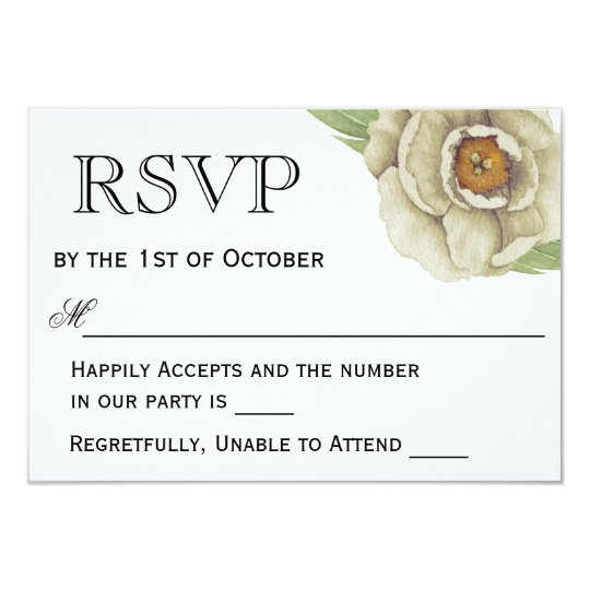 Romantic White Peonies Wedding RSVP Card
