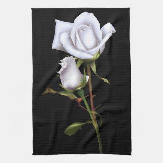 Romantic White Roses Elegant Floral Glam Black Kitchen Towel