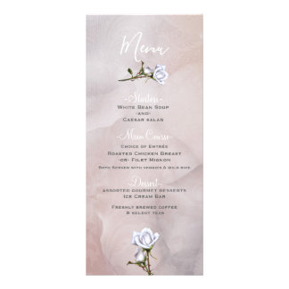 Romantic White Roses Elegant Glam Wedding Menu
