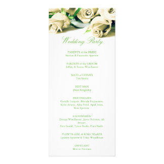 Romantic White Roses Wedding Program Rack Card Template