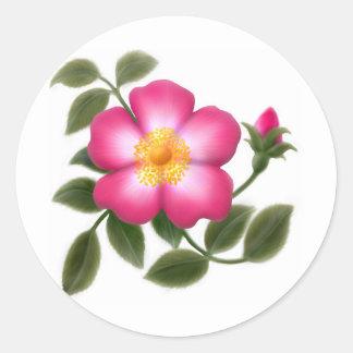 Romantic Wild Rose Classic Round Sticker