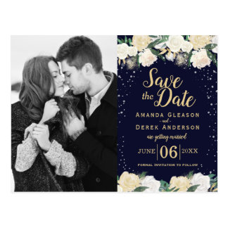 Romantic Winter Save the Date Photo Postcard