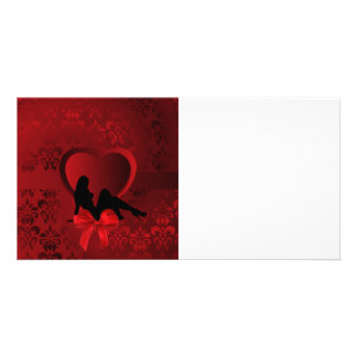 Romantic woman on red damask picture card