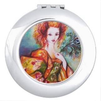 ROMANTIC WOMAN WITH SPARKLING PEACOCK FEATHER MAKEUP MIRRORS