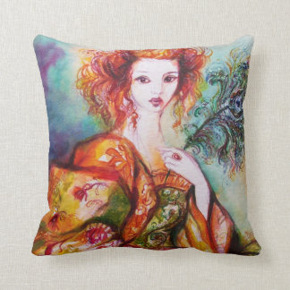 ROMANTIC WOMAN WITH SPARKLING PEACOCK FEATHER THROW PILLOW