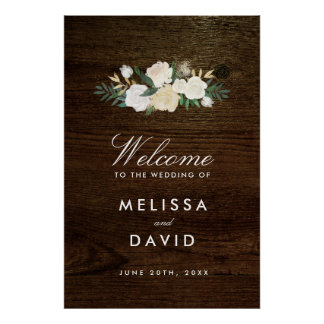 Romantic Woodland Wedding Welcome Sign (24x36) Poster
