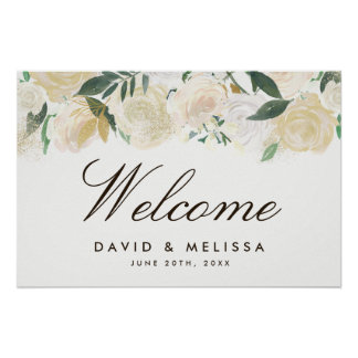 Romantic Woodland Wedding Welcome Sign Poster