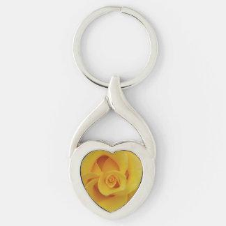Romantic Yellow Rose Petals Keychain