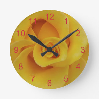 Romantic Yellow Rose Petals Round Clock